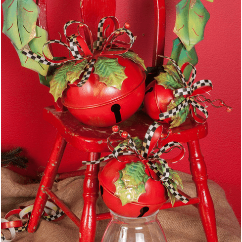 Checked Ribbon Bells - three assorted