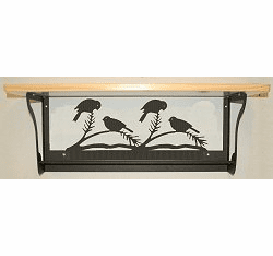 Chickadee Rustic Towel Bar with Shelf