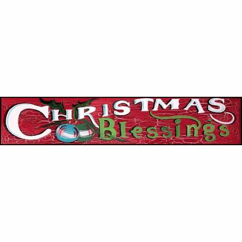 Christmas Blessings Merry Christmas Sign, 46in x 12in