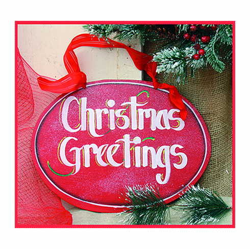 Christmas Greeting Red Merry Christmas Wall Hanging, 12 inch oval