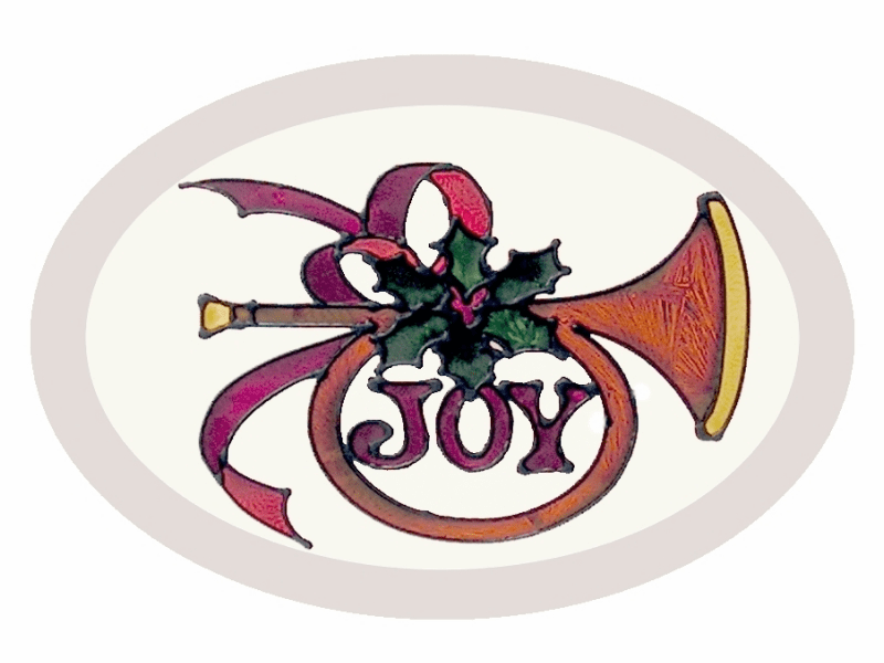 Christmas Joy Horn Stained Glass Art Glass