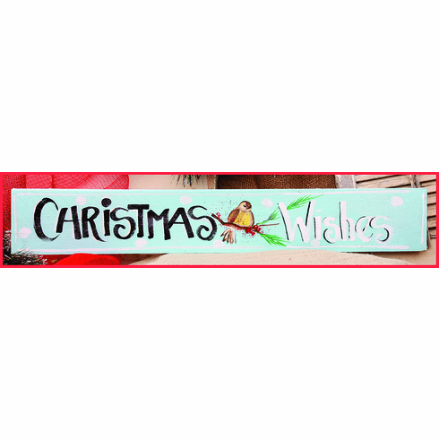 Christmas Wishes Merry Christmas Sign, 32in x 6in