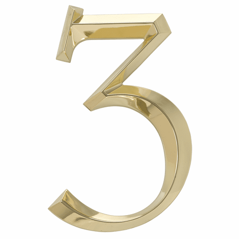 Classic 6 inches Number 3 Polished Brass