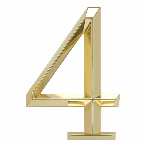 Classic 6 inches Number 4 Polished Brass