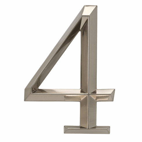 Classic 6 inches Number 4 Polished Nickel