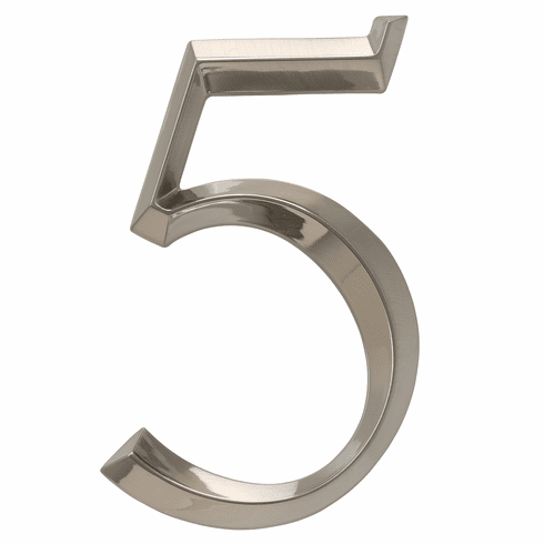 Classic 6 inches Number 5 Polished Nickel
