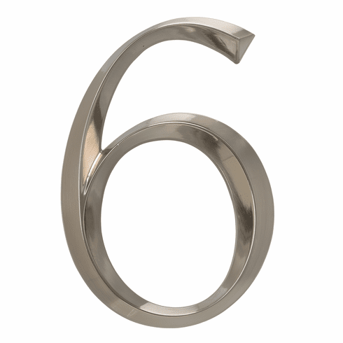 Classic 6 inches Number 6 Polished Nickel