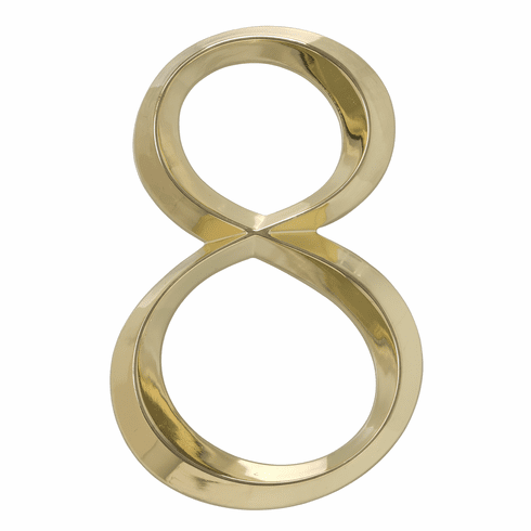 Classic 6 inches Number 8 Polished Brass