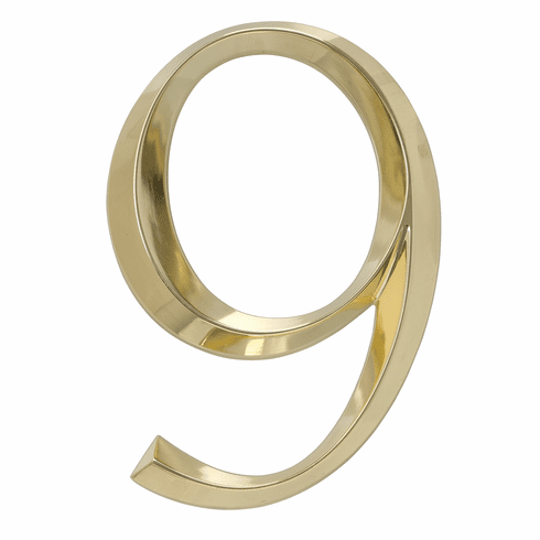 Classic 6 inches Number 9 Polished Brass