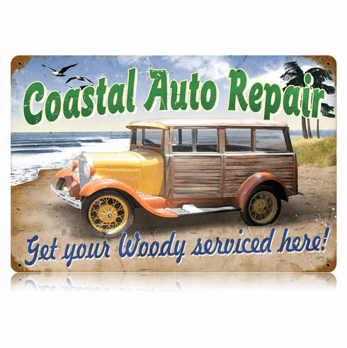 Coastal Auto Repairs - Woody Station Wagon Sign