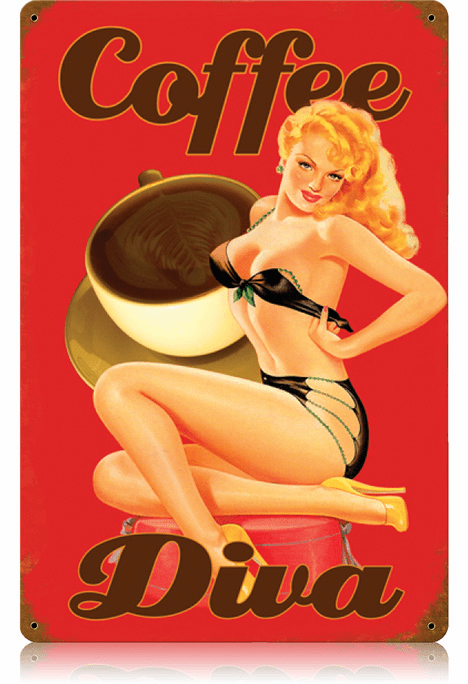 Coffee Diva Advertising Sign - Nostalgic Coffee Ad