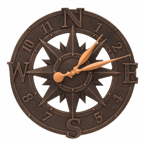 Compass Rose 16 inches Indoor Outdoor Wall Clock - Oil Rubbed Bronze