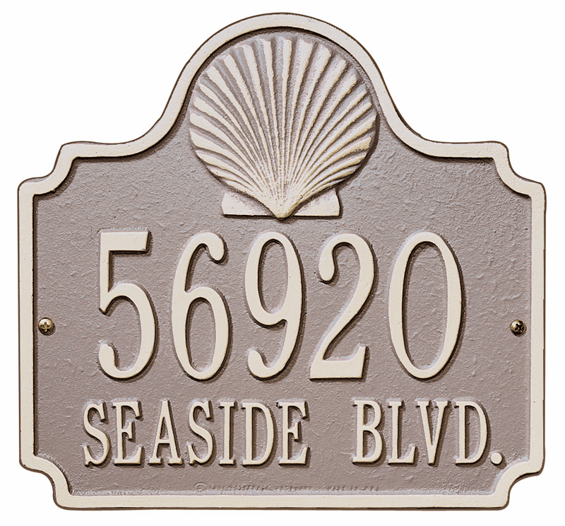 Conch Shell Address Plaque - Seashell Decoration