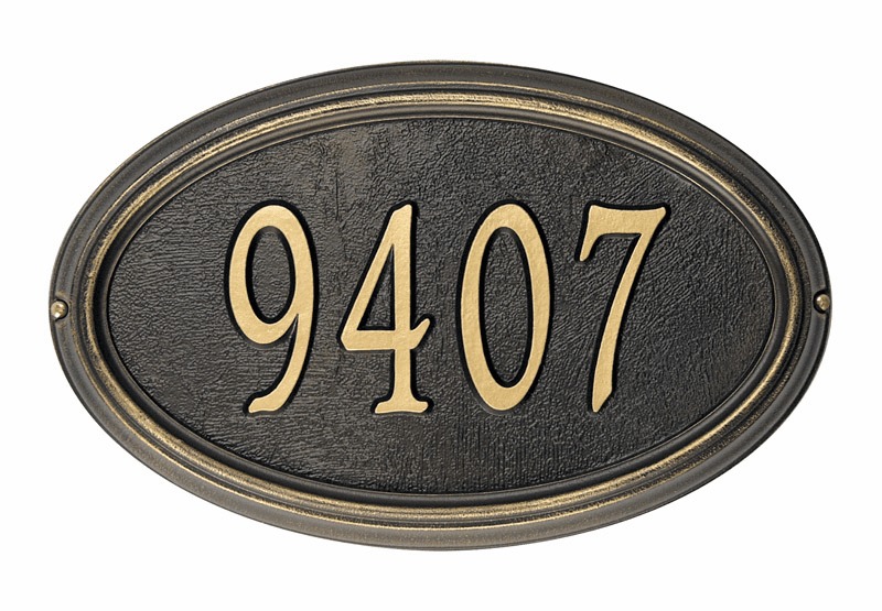 Concord Oval Address Plaque - 1 Line Plaque
