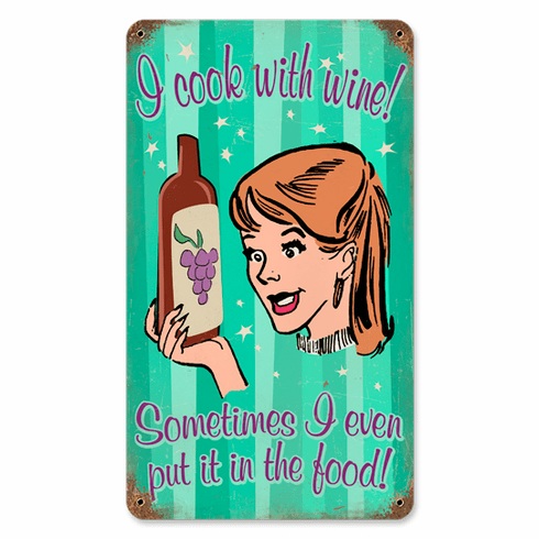 Cook With Wine Sign - Funny Kitchen Sign