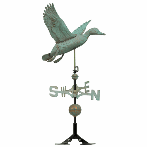 Copper Duck Weathervane - Verdigris