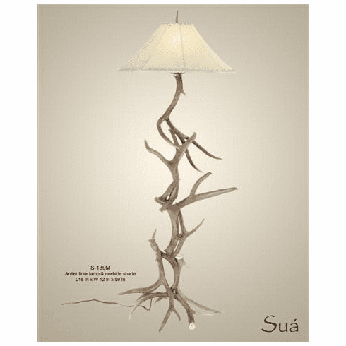 Coues Antler & Iron Floor Lamp (Rawhide Shade)
