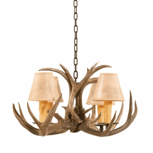Coues Deer Antler Chandelier with Paper Shades