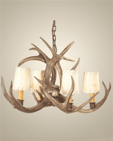 Coues Deer Antler Chandelier with Rawhide Shades