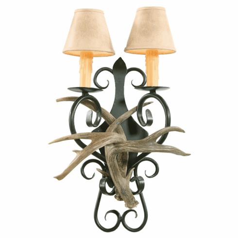 Coues Deer Antler Wall Sconce with Wrought Iron Back Plate (Paper Shades)