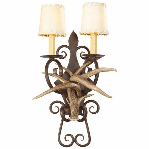 Coues Deer Antler Wall Sconce with Wrought Iron Back Plate (Rawhide Shades)