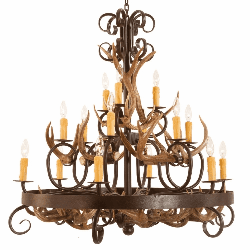 Coues Deer Antlers and Wrought Iron Chandelier