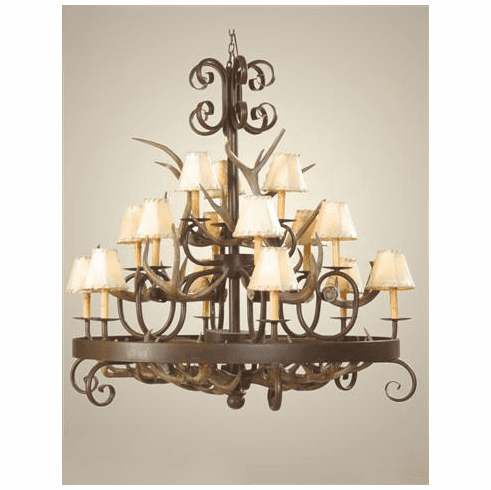 Coues Deer Antlers and Wrought Iron Chandelier with Rawhide Shades