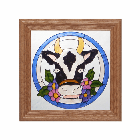 Country Cow Stained Glass Art Glass