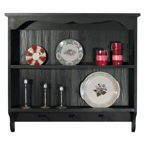 Country Plate Shelf - Beadboard Plate Shelf with Pegs