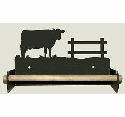 Cow Paper Towel Holder With Wood Bar