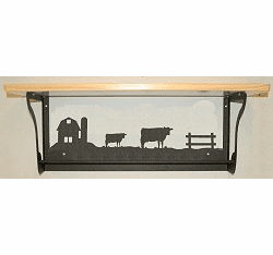 Cow Rustic Towel Bar with Shelf