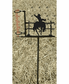 Cowboy and Horse Design Rain Gauge - Bustin Bronco