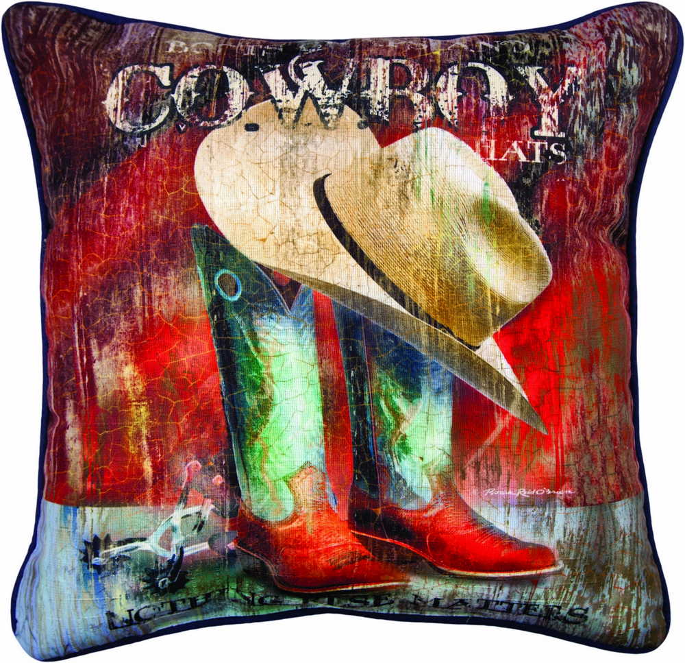 Cowboy Hat and Boot Pillow