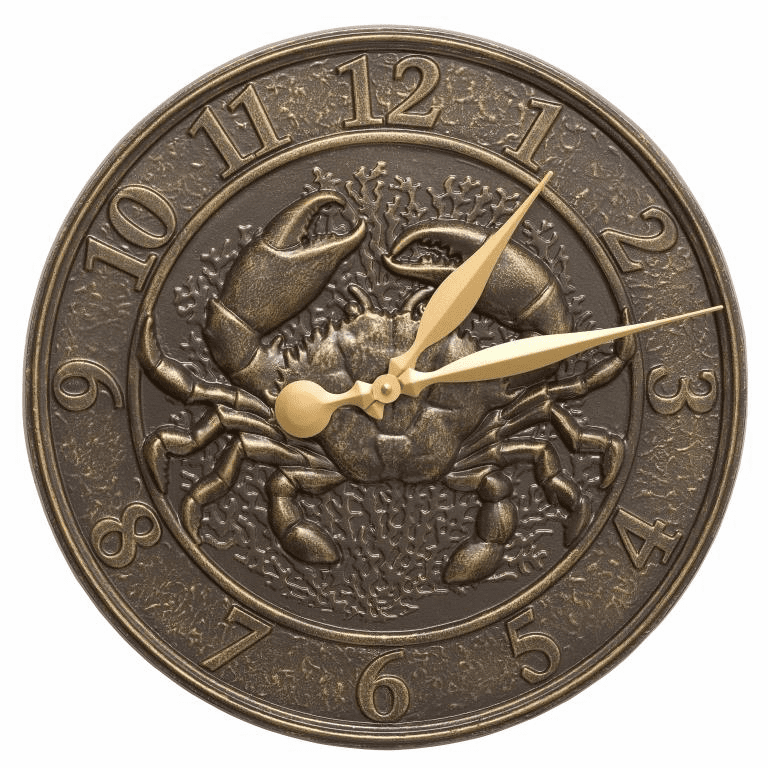 Crab Sea Life 16 inches Indoor Outdoor Wall Clock - French Bronze