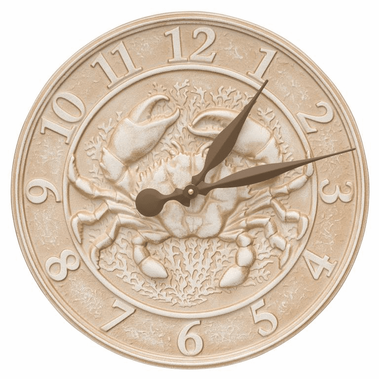 Crab Sealife Clock - Limestone