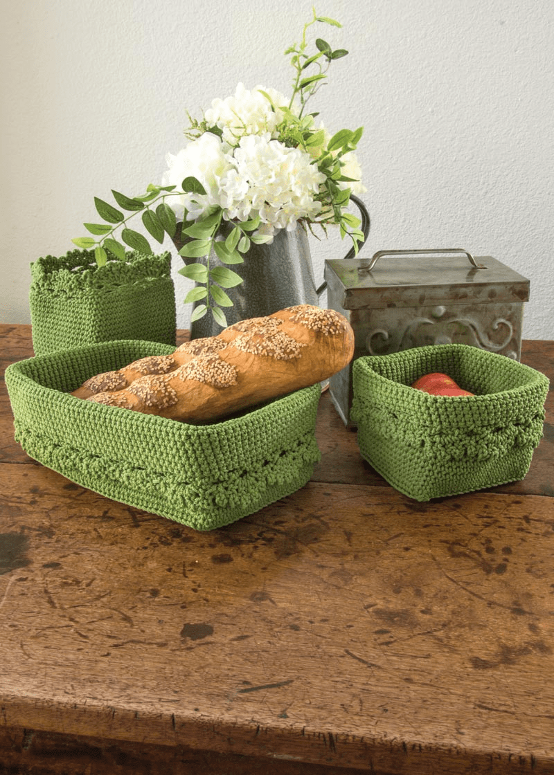 Crocheted Basket with Crochet Edge, set of 3