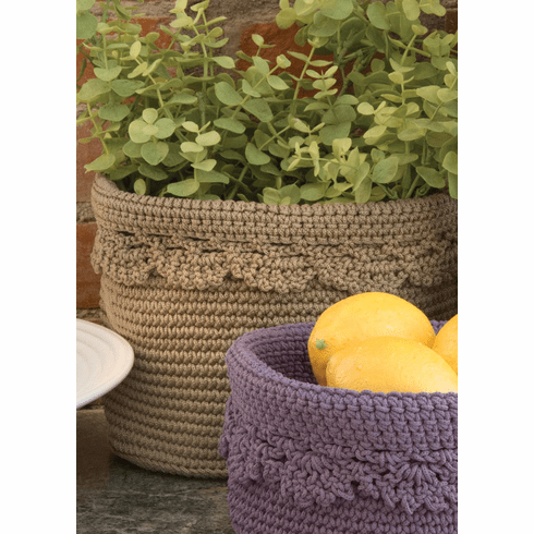 Crocheted LARGE Round Basket with Edging, set of 2