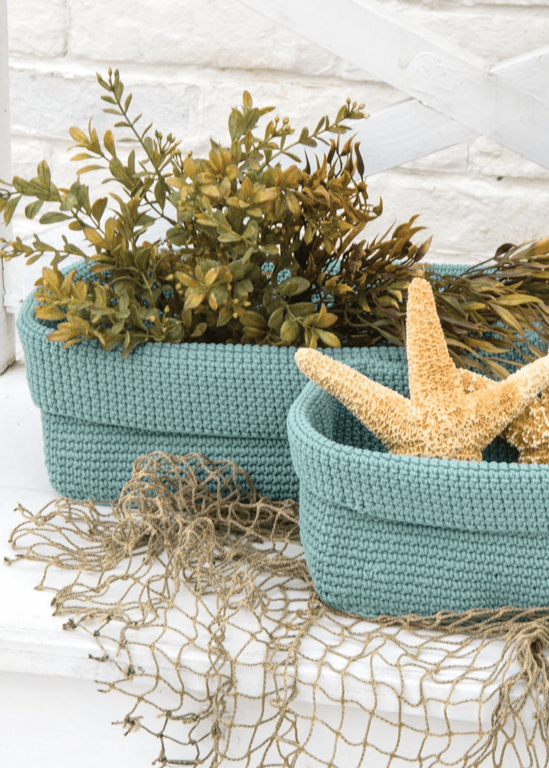 Crocheted MEDIUM Rectangular Basket
