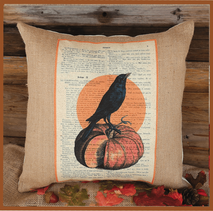 Crow and Pumpkin Thanksgiving Pillow, 17in x 17in