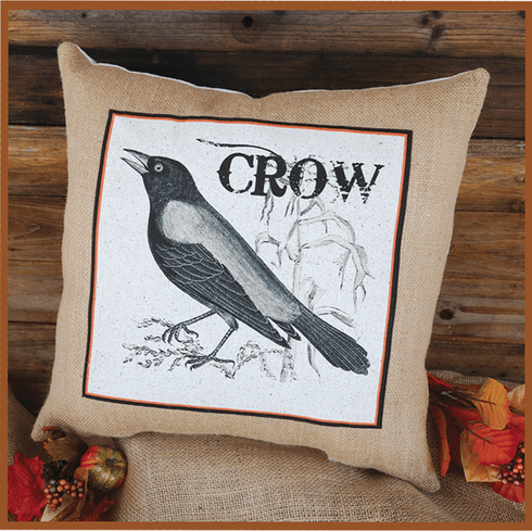 Crow Square Thanksgiving Pillow, 17in x 17in