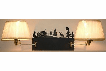 Deer and Cabin Double Swing Arm Wall Lamp