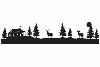 Deer and Cabin Rustic Scenery Wall Art - 3 sizes