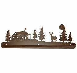 Deer and Cabin Scenery Towel Bar