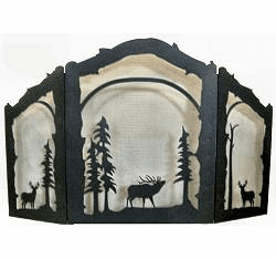 Deer and Elk Arched or Straight Fireplace Screen