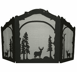 Deer Arched or Straight Fireplace Screen