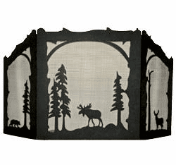 Deer, Bear & Moose Design - Straight Top Fireplace Screen