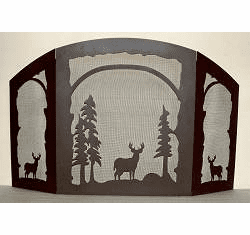 Deer Design Fireplace Screen - Melinda Style