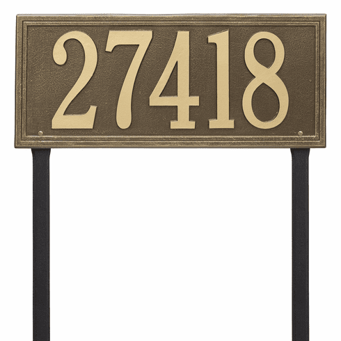 Double Line Estate Lawn One Line Plaque in Antique Brass