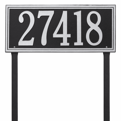 Double Line Estate Lawn One Line Plaque in Black and Silver