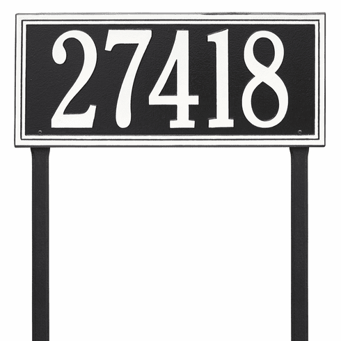 Double Line Estate Lawn One Line Plaque in Black and White